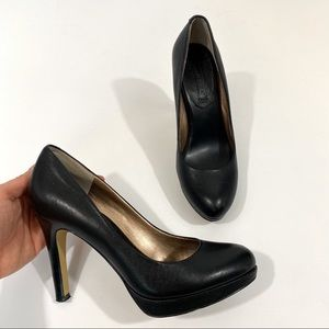 Banana Republic Black Leather Low Platform Heel